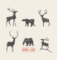 drawn deers bears logotype vector image vector image