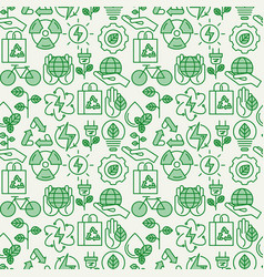 Ecology seamless pattern with thin line icons vector