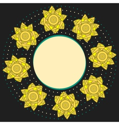 Elegant round frame with yellow narcissuses vector