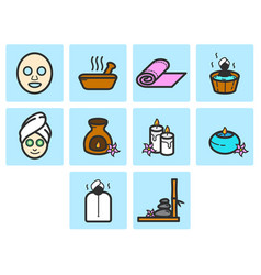 Flat color spa icon set vector