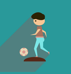 Flat web icon with long shadow football playe vector