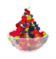 fresh berries in cup berry set in cartoon style vector image vector image