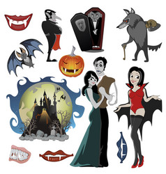Halloween set with vampire and their castle under vector