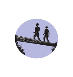 Hikers crossing single log bridge oval woodcut vector