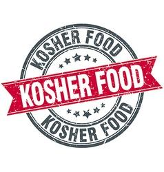 Kosher food red round grunge vintage ribbon stamp vector