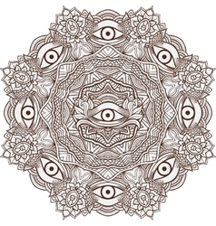 Mandala henna mehendi with the eye of providence vector