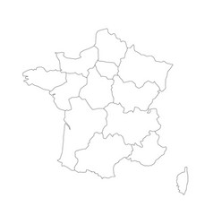 outline map of france divided into 13 vector image vector image