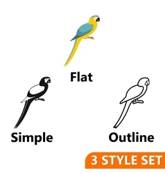 Parrot icons set vector image vector image