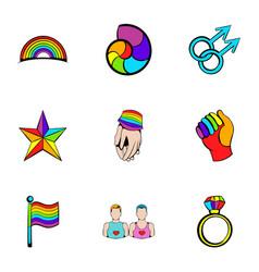 public relation icons set cartoon style vector image