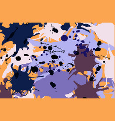 Purple lilac orange brown ink splashes background vector