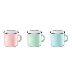 Realistic enamel metal in pastel colors - vector