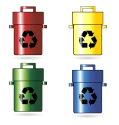 recycling trash cans vector image vector image