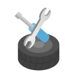 Repair wheels isometric 3d icon vector image vector image