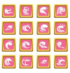 sea waves icons pink vector image