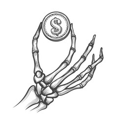 Skeleton hands with dollar coin vector