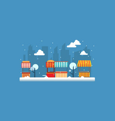 Street stall with snow of landscape vector
