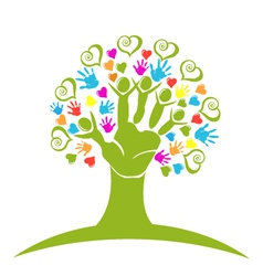 Tree hands hearts and figures logo vector image vector image