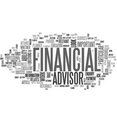 What to look for in a financial advisor text word vector