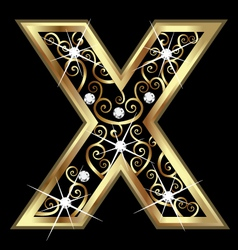 X gold letter with swirly ornaments vector