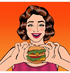 Young Woman Eating Hamburger Pop Art vector image vector image