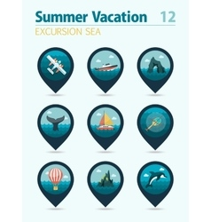 Excursion sea pin map icon set summer vacation vector