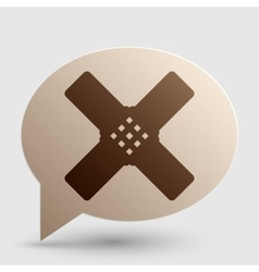 Aid sticker sign brown gradient icon on bubble vector