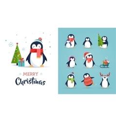 Cute penguins set - Merry Christmas greetings vector image