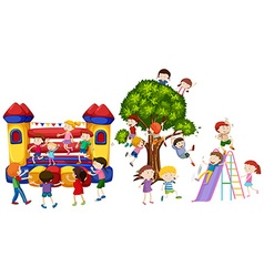 Children playing on playground vector
