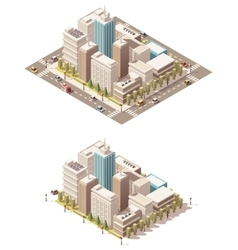 Isometric low poly city downtown vector