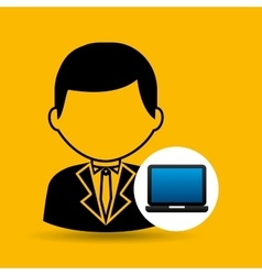 laptop icon character man social media vector image