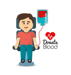 Man donating blood icon vector