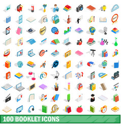 100 booklet icons set isometric 3d style vector
