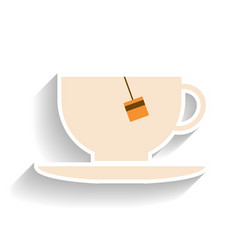Cup with tea bag flat color icon object of fast vector
