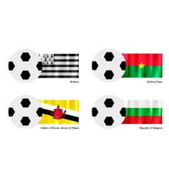 Football with brittany burkina faso brunei flag vector