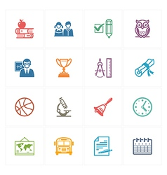 School and Education Icons Set 3 - Colored Series vector image