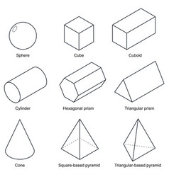 3d shape set isolated on background vector