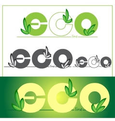 Set green eco logos on colored background vector