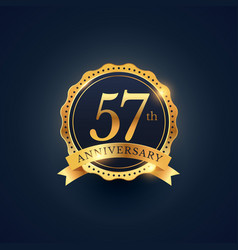57th anniversary celebration badge label in vector