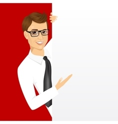 Young man with a blank presentation board vector