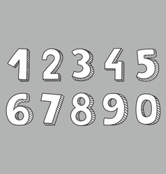 Hand drawn white numbers vector