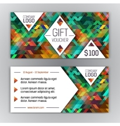 gift voucher template with triangle pattern and vector image
