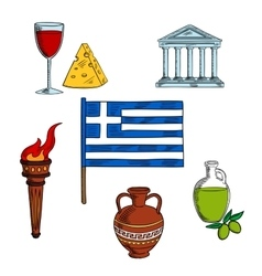 Symbols of greece for travel design vector
