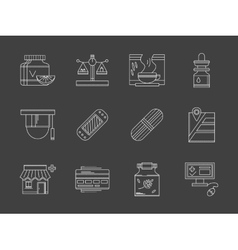 Web drugstore white flat line icons vector