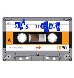 Vintage cassette with lettering title eighties vector
