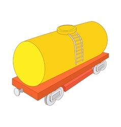 Yellow railroad tank icon cartoon style vector