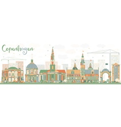 Abstract copenhagen skyline with color landmarks vector