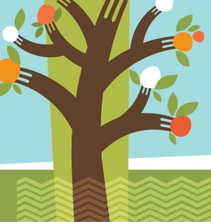 Abstract fruit tree fork branches vector