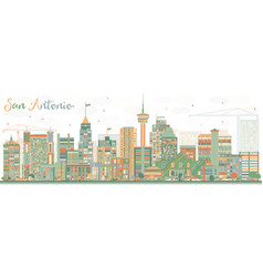 Abstract san antonio skyline with color buildings vector