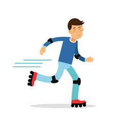 Active boy roller skating cartoon character kids vector
