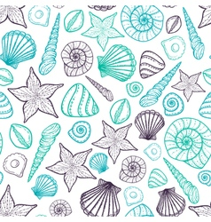 Beach seashell pattern seamless pattern with vector